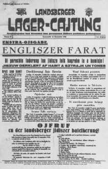 Front page of a newspaper from Landsberg displaced persons camp. Germany, November 15, 1945.