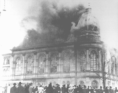 "The Boerneplatz synagogue in flames during Kristallnacht (the ""Night of Broken Glass""). Frankfurt am Main, Germany, November 10, 1938."