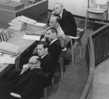 The prosecution team, including chief prosecutor and attorney general Gideon Hausner (bottom left), during Adolf Eichmann's trial. Jerusalem, Israel, May 30, 1961.