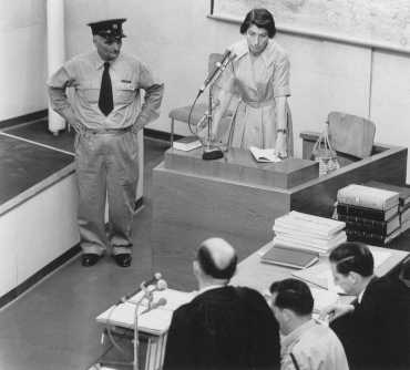 Witness Zivia Lubetkin Zuckerman testifies during the trial of Adolf Eichmann. Jerusalem, Israel. May 3, 1961.