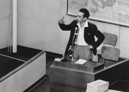 Former Jewish partisan leader Abba Kovner testifies for the prosecution during the trial of Adolf Eichmann. May 4, 1961.