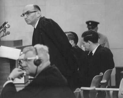 Prosecutor Gideon Hausner (standing) during Adolf Eichmann's trial. Jerusalem, Israel, July 11, 1961.