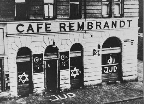 A Jewish cafe painted with antisemitic graffiti. Vienna, Austria, November 1938.