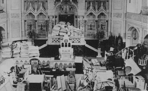 A synagogue used as a warehouse for the belongings of deported Jews. Szeged ghetto, Hungary, 1944.