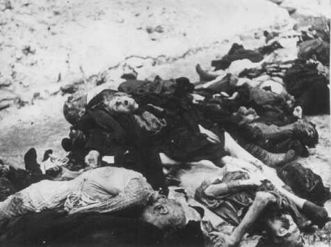Victims of German SS and Hungarian Arrow Cross terror in the ghetto, found in the courtyard of the Pestor synagogue on Dohany Street. Budapest, Hungary, January 1945.