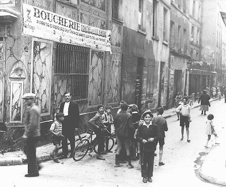 Street scene in the Jewish quarter of Paris before the war. Paris, France, 1933-1939.