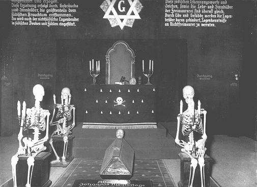 "An antisemitic and anti-Masonic display at the exhibition ""Der ewige Jude"" (The Eternal Jew), which sought to establish a connection between Jews and Freemasons. Munich, Germany, November 10, 1937."