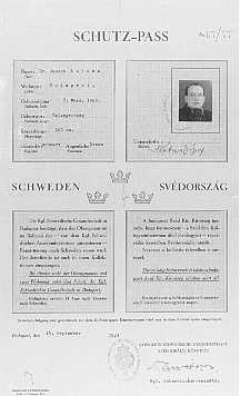 Swedish protective pass issued to Joseph Katona, the Chief Rabbi of Budapest. Budapest, Hungary, September 15, 1944.