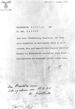 Adolf Hitler's authorization for the Euthanasia Program (Operation T4), signed in October 1939 but dated September 1, 1939.