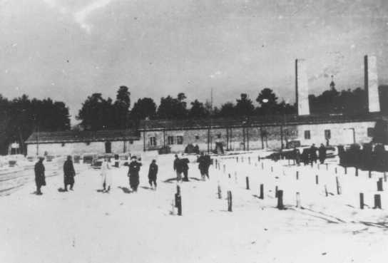 Crematorium 4 under construction. This crematorium was later destroyed during an uprising in the camp. Auschwitz-Birkenau, Poland, winter 1942-1943.