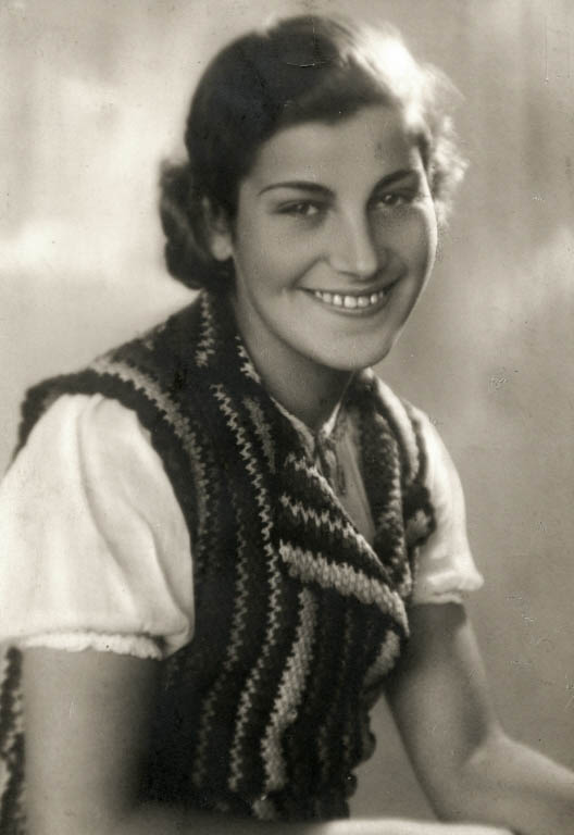 "Studio portrait of Chava Leichter, murdered in Treblinka in 1942 at the age of 25. Her brother Chaim emigrated to Palestine in 1937 on the boat ""Polania."" He served in the British army in Libya during the war."