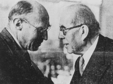 British Zionist leader Norman Bentwich (left) with Henri Berenger, French delegate to the Evian Conference on Jewish refugees. Evian-les-Bains, France, July 1938.