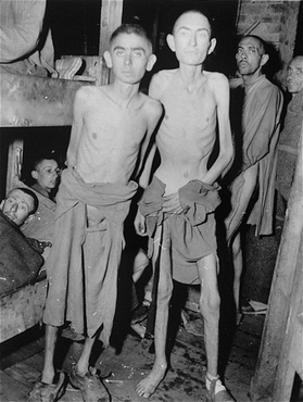 Survivors of the Ampfing subcamp of the Dachau concentration camp soon after liberation by US troops. Ampfing, Germany, May 4, 1945.