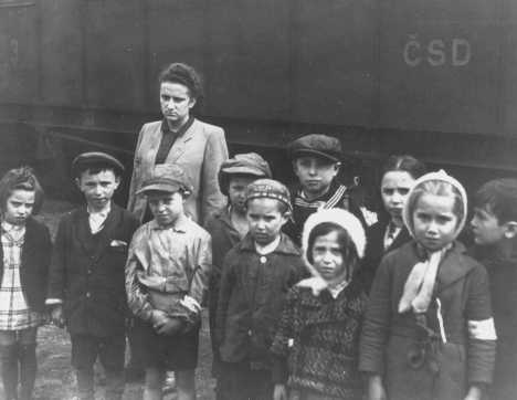 Polish Jewish orphans, under the temporary care of the United Nations Relief and Rehabilitation Administration (UNRRA), en route to France and Belgium. Prague, Czechoslovakia, 1946.