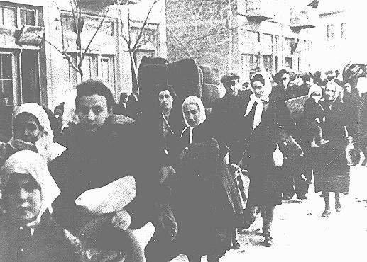 Jews in Bulgarian-occupied Macedonia are rounded up for deportation. Bulgarian authorities held them first in a camp in Skopje, then deported them to the Treblinka killing center in German-occupied Poland. Skopje, Yugoslavia, March 1943.