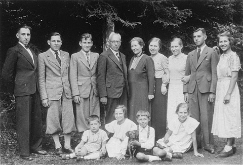 The Kusserow family was active in their region distributing religious literature and teaching Bible study classes in their home. Their house was conveniently situated for fellow Witnesses along the tram route connecting the cities of Paderborn and Detmold. For the first three years after the Nazis came to power, the Kusserows endured moderate persecution by local Gestapo agents, who often came to search their home for religious materials. In 1936, Nazi police pressure increased dramatically, eventually resulting in the arrest of the family and its members' internment in various concentration camps. Most of the family remained incarcerated until the end of the war. Bad Lippspringe, Germany, ca. 1935.