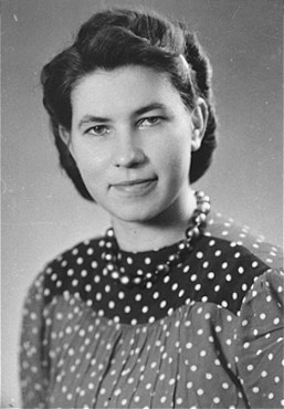 Hildegard Kusserow, a Jehovah's Witness, was imprisoned for four years in several concentration camps including Ravensbrueck. Germany, date uncertain.