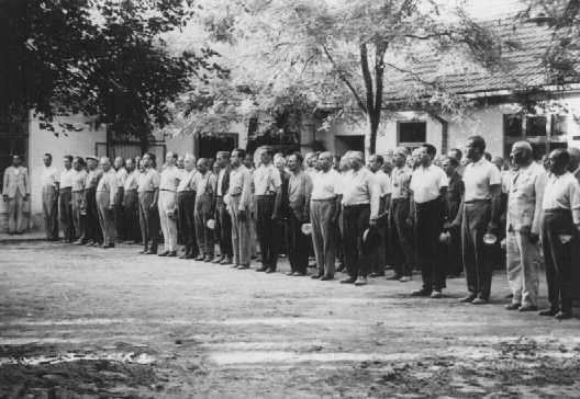 With bowls in hand, conscripts of a Jewish Hungarian labor unit wait for food. Abony, Hungary, 1940.