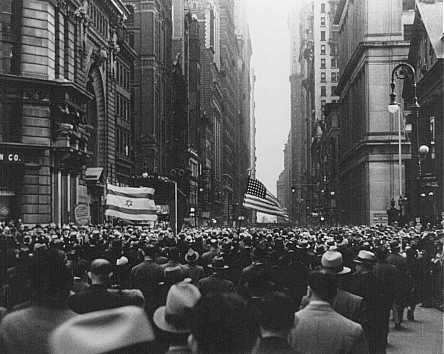 On the day of book burnings in Germany, massive crowds march from New York's Madison Square Garden to protest Nazi oppression and anti-Jewish persecution. New York City, United States, May 10, 1933.
