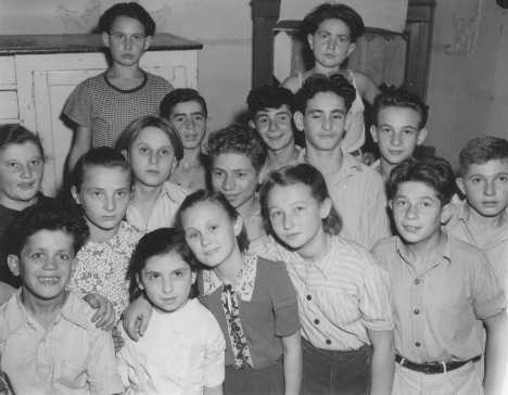 Jewish orphans in a displaced persons center in the Allied occupation zone. Lindenfels, Germany, October 16, 1947.