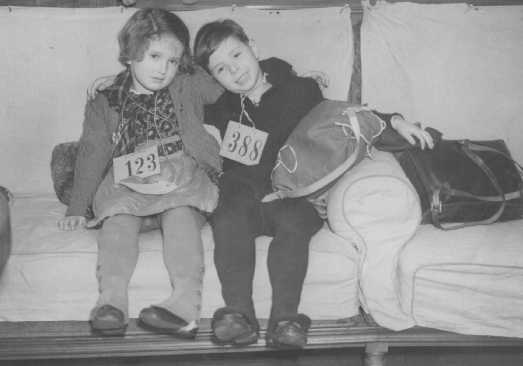Jewish refugee children, part of a Children's Transport (Kindertransport) from Germany, upon arrival in Harwich. Great Britain, December 12, 1938.