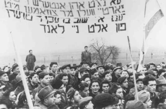 Refugees protest British immigration policy in Palestine. They carry banners demanding a Jewish state. Zeilsheim displaced persons camp, Germany, 1946.