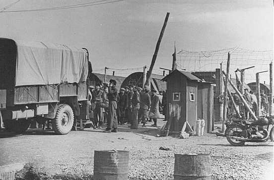 The last group of European Jewish refugees leaves a British detention camp for Israel. Cyprus, February 10, 1949.