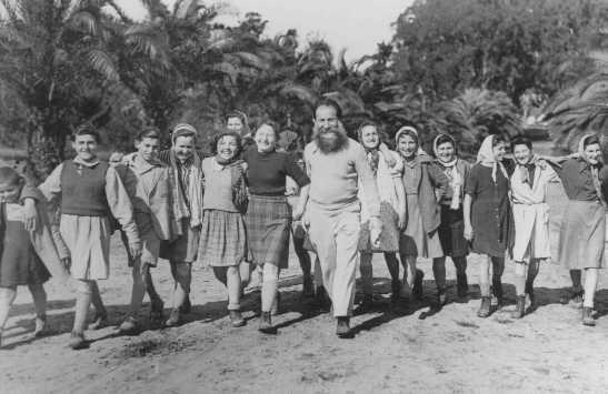 "A group of Polish Jewish children (known as the ""Tehran Children""), who arrived in Palestine via Iran, at the Mikveh Israel agricultural village. Palestine, February or March 1943."