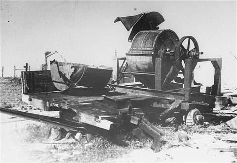 Bone-crushing machine used to grind human bones in order to obtain fertilizer in the Janowska concentration camp. August 1944.