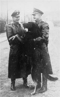 Two SS officers and a guard dog in the Janowska concentration camp. Janowska, Poland, between January 1942 and November 1943.