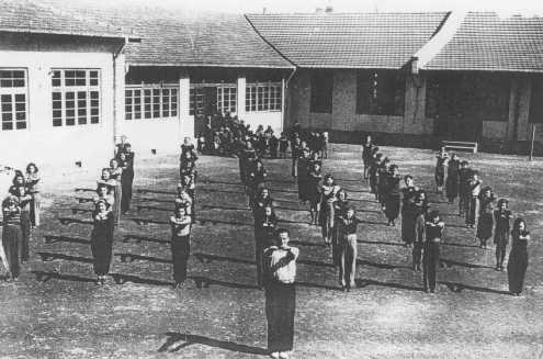Physical education class at a Jewish refugee school. Shanghai, China, after 1938.