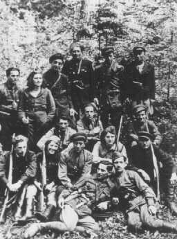 Group of Jewish partisans from the Kovno ghetto. Lithuania, 1944.