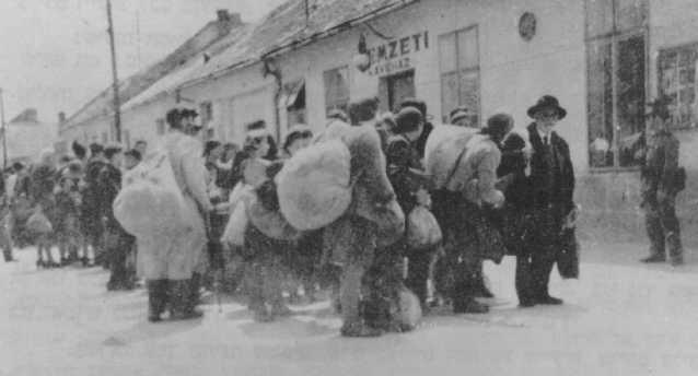 Deportation of Jews by Hungarian authorities. Dunaszerdahely, Czechoslovakia, 1944.