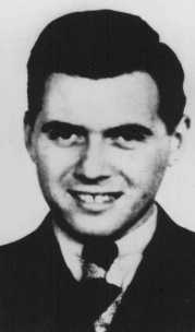 Josef Mengele, German physician and SS captain. In 1943, he was named SS garrison physician (Standortartz) of Auschwitz. In that capacity, he was responsible for the differentiation and selection of those fit to work and those destined for gassing. Mengele also carried out human experiments on camp inmates, especially twins. Place and date uncertain.