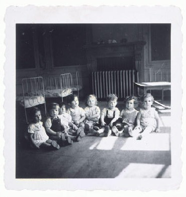 After the war, thousands of Jewish children ended up in orphanages all over Europe as a result of the Holocaust. The toddlers in this children's home in Etterbeek, Belgium, survived in hiding, but their parents had been deported to Auschwitz.