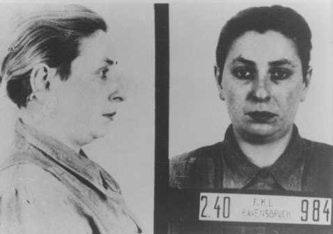 Identification pictures of Henny Schermann, a shop assistant in Frankfurt am Main. In 1940 police arrested Henny, who was Jewish and a lesbian, and deported her to the Ravensbrueck concentration camp for women. She was killed in 1942. Ravensbrueck, Germany, 1941. (Source Record ID: Anklagg-Dokument)