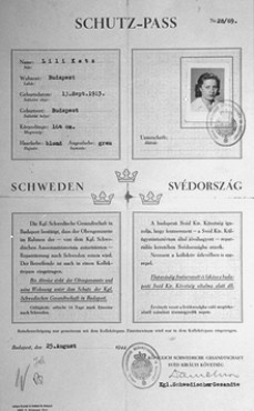 "Swedish ""protective pass"" issued to Lili Katz, a Hungarian Jew. The document was initialed by Raoul Wallenberg (bottom left). Budapest, Hungary, August 25, 1944."