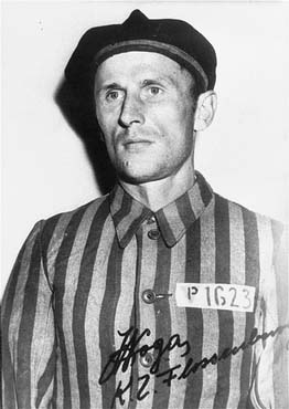 "A Polish prisoner (marked with an identifying patch bearing a ""P"" for Pole), Julian Noga, at the Flossenbürg concentration camp. Germany, between August 1942 and April 1945."