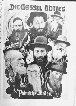 """Page of """"Der Stuermer"""" (The Attacker) showing an antisemitic photomontage, Germany, 1939. This image was presented as evidence at the Nuremberg trials."""