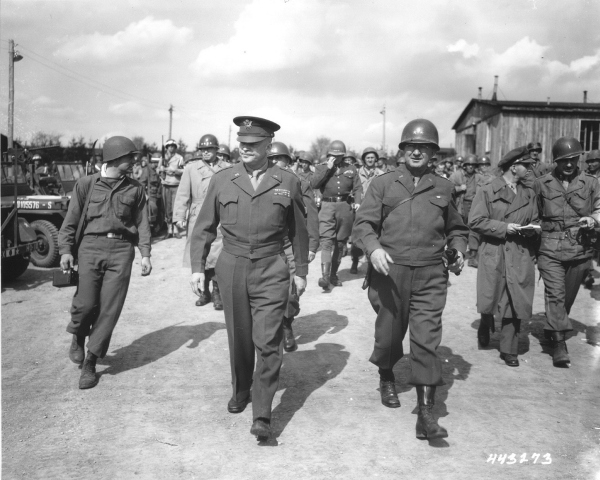 General Dwight D. Eisenhower and General Troy Middleton, commanding general of the XVIII Corps, Third US Army,  tour the newly liberated Ohrdruf concentration camp. Ohrdruf, Germany, April 12, 1945.