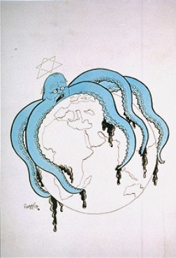 Propaganda cartoon warning of a worldwide Jewish conspiracy. Germany, date uncertain.