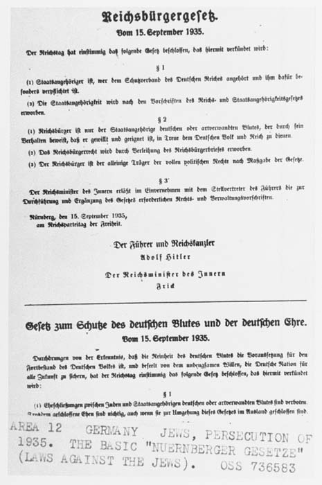 Samples of the Nuremberg Race Laws (the Reich Citizenship Law and the Law for the Protection of German Blood and Honor). Germany, September 15, 1935.