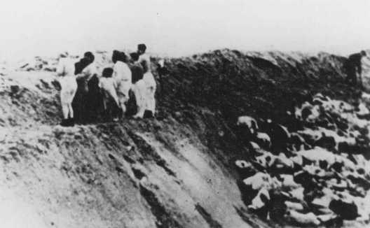 Nazis and Latvian militia men ordered Jews to undress, then shot them in the trenches. Near Liepaja, Latvia, December 1941.