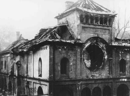 "Herzog Rudolfstrasse synagogue after it was destroyed during Kristallnacht (the ""Night of Broken Glass""). Munich, Germany, November 1938."