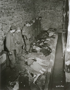 Troops of the American 82nd Airborne Division view bodies of inmates at Wöbbelin, a subcamp of the Neuengamme concentration camp. Germany, May 6, 1945.