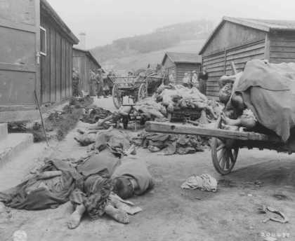 Corpses found when UStroops liberated the Gusen camp, a subcamp of the Mauthausen concentration camp. Austria, after May 12, 1945.