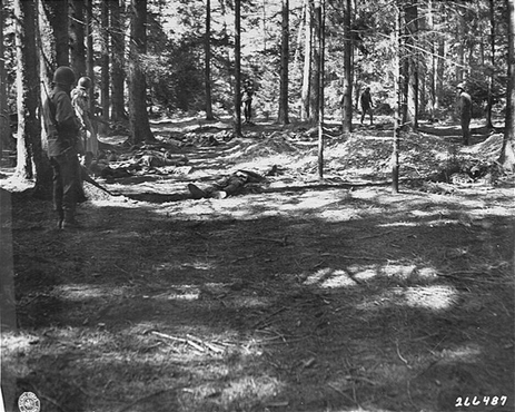 American soldiers view corpses of prisoners massacred by SS guards in a wooded area near the Kaufering IV subsidiary camp of the Dachau concentration camp. Landsberg- Kaufering, Germany, April 30, 1945.