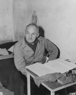 Defendant Julius Streicher in his prison cell.