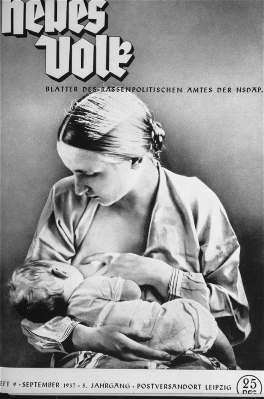"The cover of a Nazi publication on race, ""Neues Volk"" (New People), portrays motherhood with this ideal image of an ""Aryan"" mother and child. Germany, April 1936."