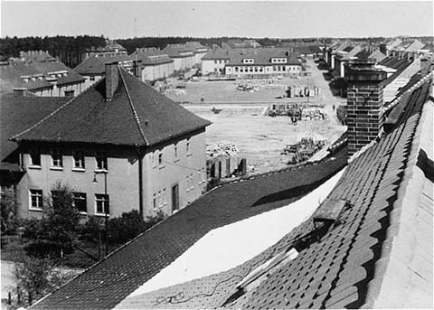 Former quarters of the German army converted into displaced persons housing. Bergen-Belsen, Germany, May 1945.